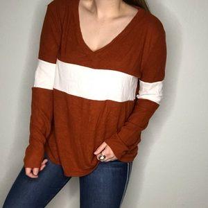 Fantastic Fawn Color Block V Neck Long Sleeve Top